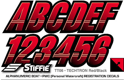 Techtron Yellow//Orange 3 Alpha-Numeric Registration Identification Numbers Stickers Decals for Boats /& Personal Watercraft