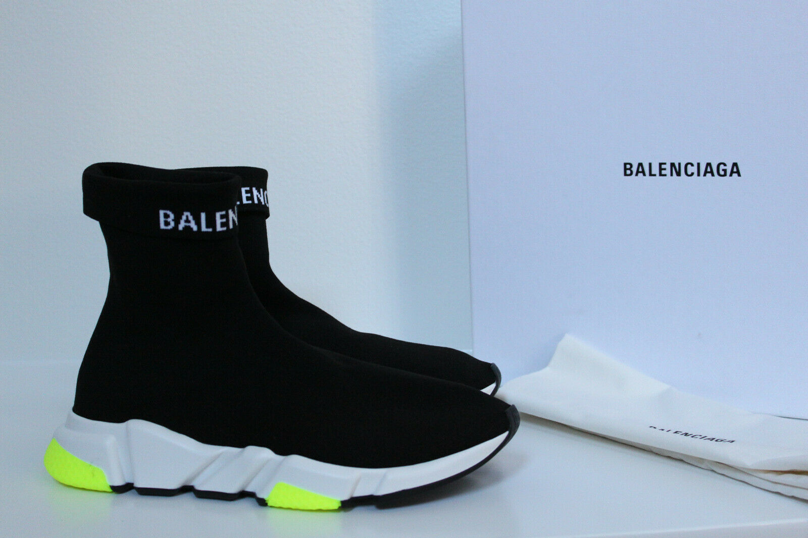 New sz 11 US   44 BALENCIAGA Black Logo Speed High-Top Sock Sneaker Men shoes