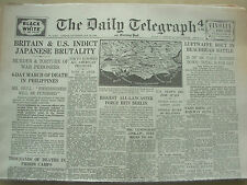 DAILY TELEGRAPH WWII NEWSPAPER JANUARY 29th 1944 JAPANESE BRUTALITY OF POW's