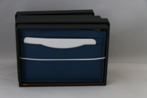Saddle or Denim Black COACH Boxed Card Case in Leather // Wallet 75302B