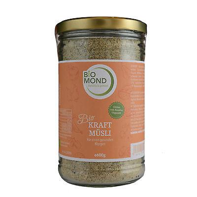 BIO Kraft Müsli BIOMOND 600 g Müsli im Glas ungesüsst glutenfrei vegan nussfrei