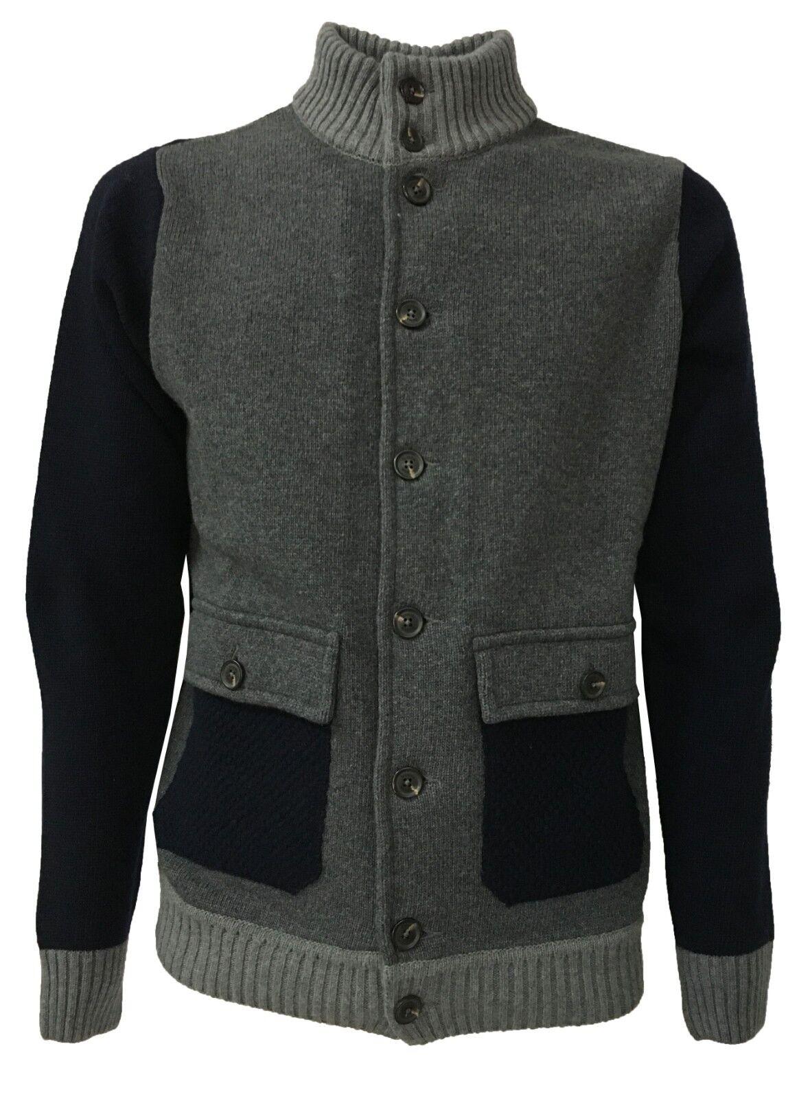 FERRANTE blouson Herren blau/grau Mit Knöpfen und Taschen mod U24001 80% Wolle