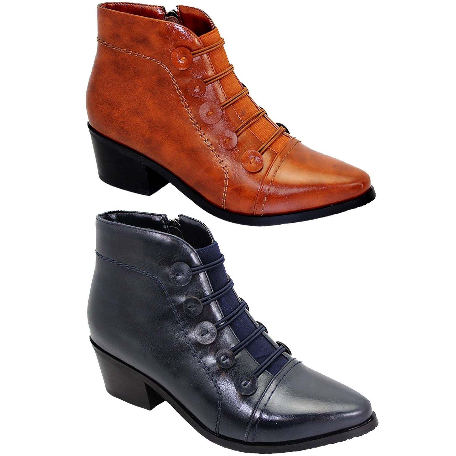 Glc458 Belmont señoras elástica Slip On bajo bloque Taco Botines Taco bloque Zapatos c51c6b