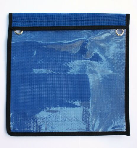 """BLUE SINGLE POCKET LURE BAG 12/"""" x 12/"""" HEAVY DUTY FOR FISHING TACKLE W GROMMETS"""