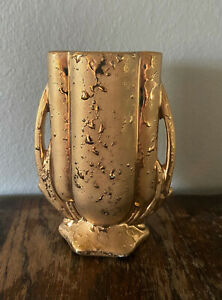 Vintage-1940s-McCoy-Weeping-24k-Gold-Handled-Art-Pottery-Vase-5-3-4-034