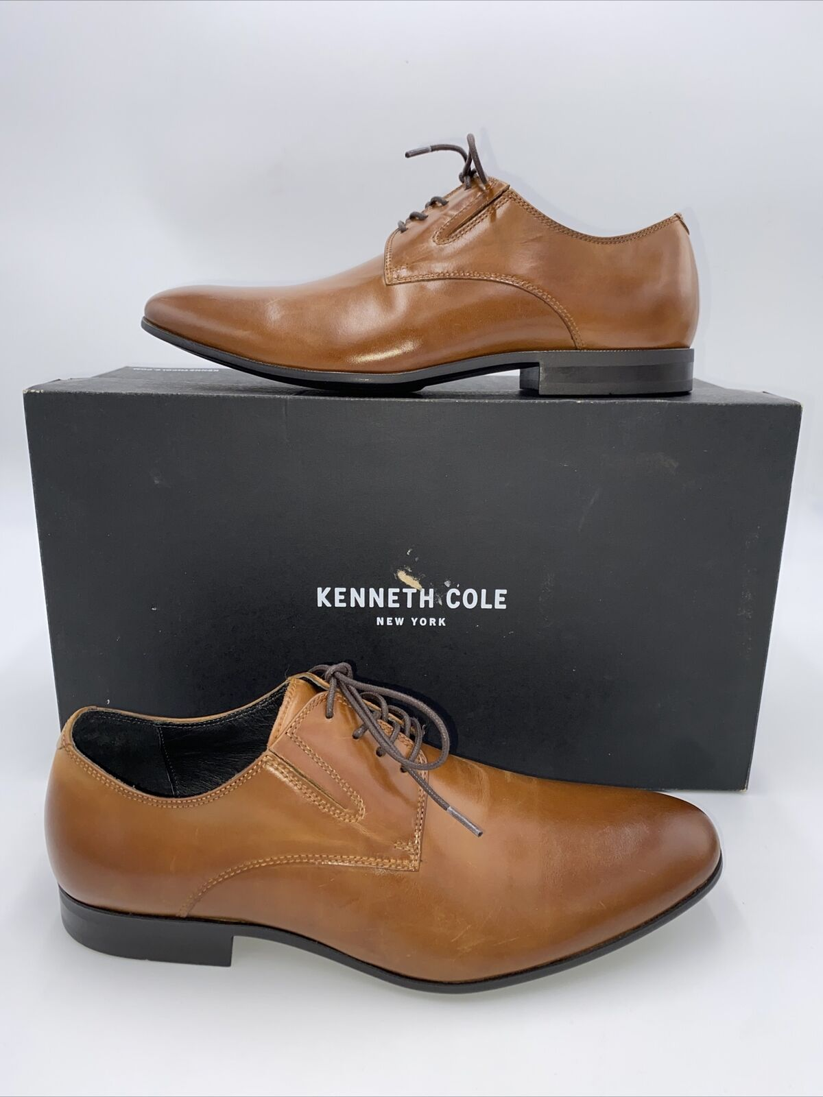 Kenneth Cole New York Mens Mix-Er Leather Oxfords Cognac Size 7.5 M
