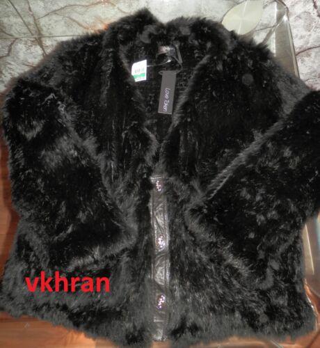 taille en noire Black cuir XL avec en tricot Blouson maille Lapin Diamond fourrure de en grand SxPqTqfw4