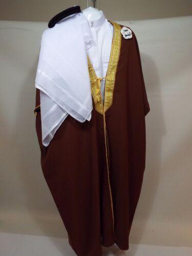 Arab Sheik Costume full 4 piece Adult Arabian thabe brown bisht Black Igal egal