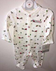 NWT-CARTER-039-S-MY-FIRST-CHRISTMAS-PAJAMA-amp-HAT-Christmas-Newborn-Sleep-amp-Play-BABY