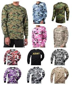 Mens-Army-Military-Training-Outdoor-Woodland-Camo-Long-Sleeve-Tee-T-Shirt