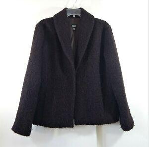 EILEEN FISHER jacket blazer wool shawl collar fuzzy modern brown casual L LARGE