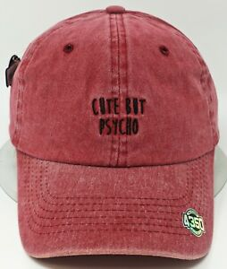 62acbd9af65ca CUTE BUT PSYCHO Cap Pigment Washed Distressed Dad Hat Adult OSFM Red ...