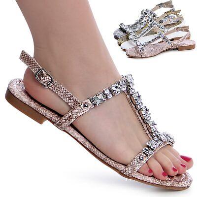 Damen Riemchen Sandalen Glitzer Sandaletten Snake Optik Schnalle Trendy