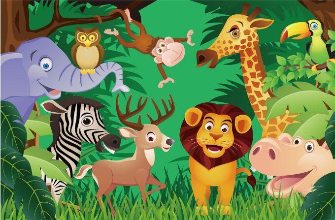 3D Waldtiere  Party 3093 Fototapeten Wandbild Fototapete BildTapete Familie DE