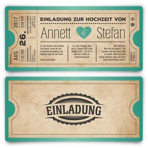 Einladungskarten-zur-Hochzeit-als-Eintrittskarte-Vintage-Herz-Blau-Einladung