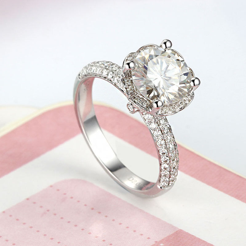 2CT 8mm Round Brilliant Moissanite Engagement Ring  Lotus Flower 14k White gold