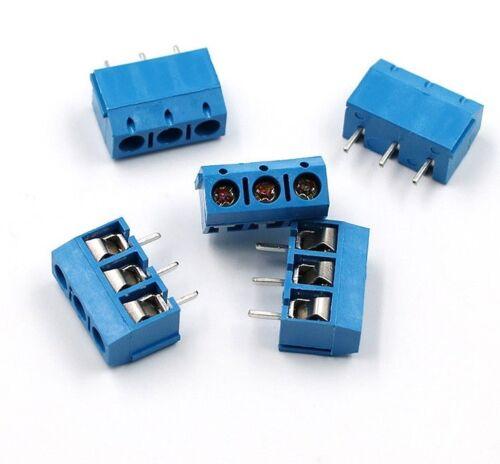 3 Pin PCB x1 Blu 5.08mm Blocco Terminale Connettore a vite KF301-3P fai da te SOCKET PCB