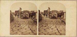 Italia-Pompei-Via-Appia-Foto-Stereo-P8L2n-Vintage-Albumina-Ca-1860