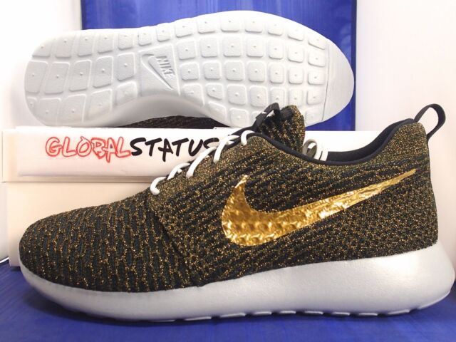2e16d56a0c86f Mens Nike ID Roshe Run Flyknit Black Metallic Gold Grey Shoes 718293 989  Size 10 for sale online