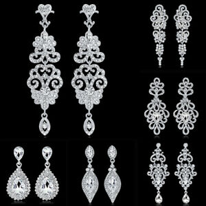 a4485915338ae9 Image is loading Diamante-Silver-Crystal-Long-Hanging-Dangle-Drop-Earrings-