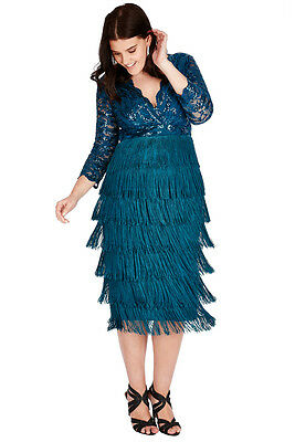 Goddiva Sequin Lace Flapper Fringe Tiered Cocktail Evening Party Formal Dress