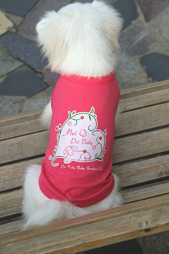 Pet Dog Clothes Pink Top w// White Heart Pattern Shirt Casual Appeal *NEW*