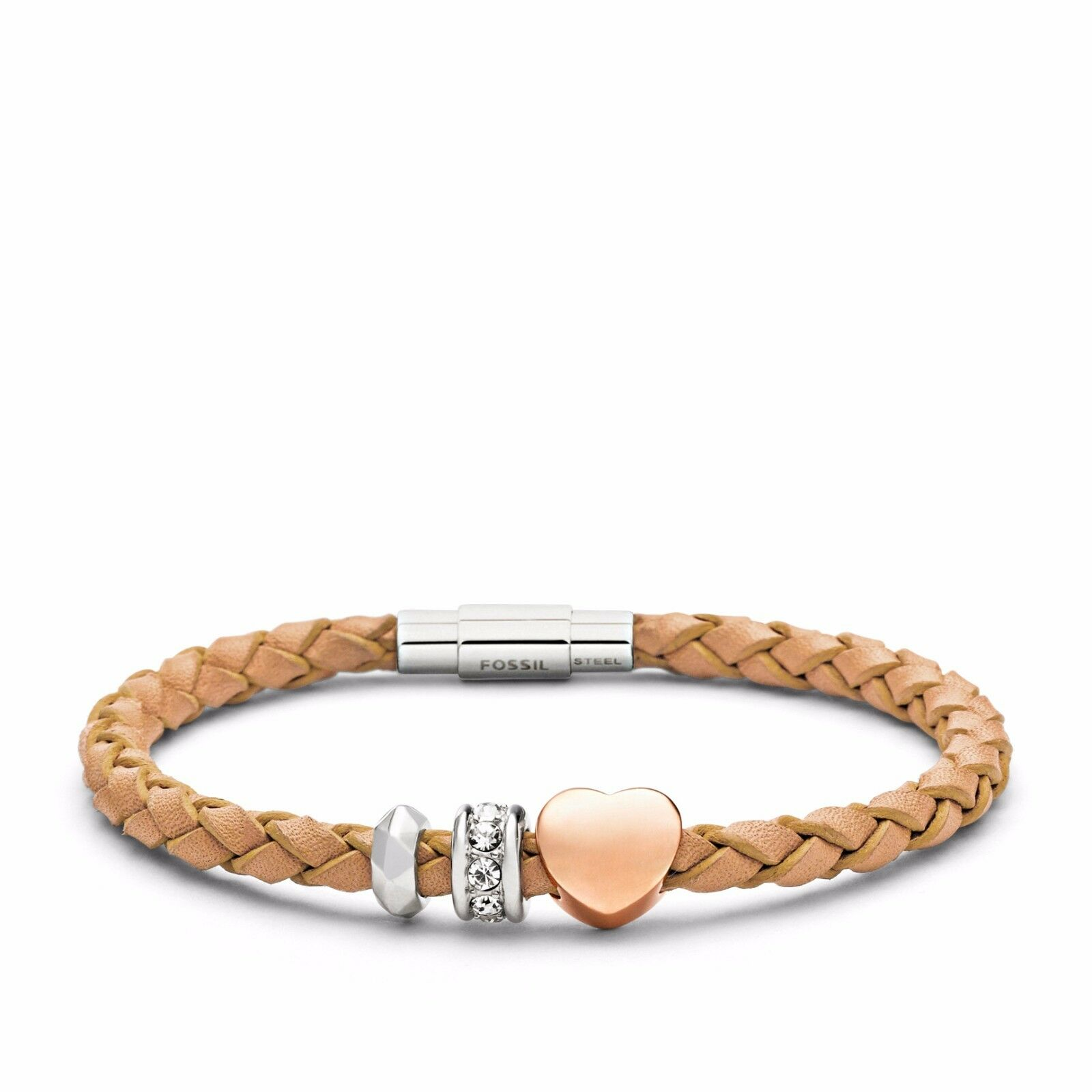 NEW-FOSSIL BRAIDED NEUTRAL LEATHER CRYSTAL HEART CHARM BRACELET JF01567998