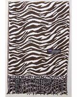 100% Cashmere Scarf Brown White Zebra Check Plaid Scotland Wool Women Rz Wrap