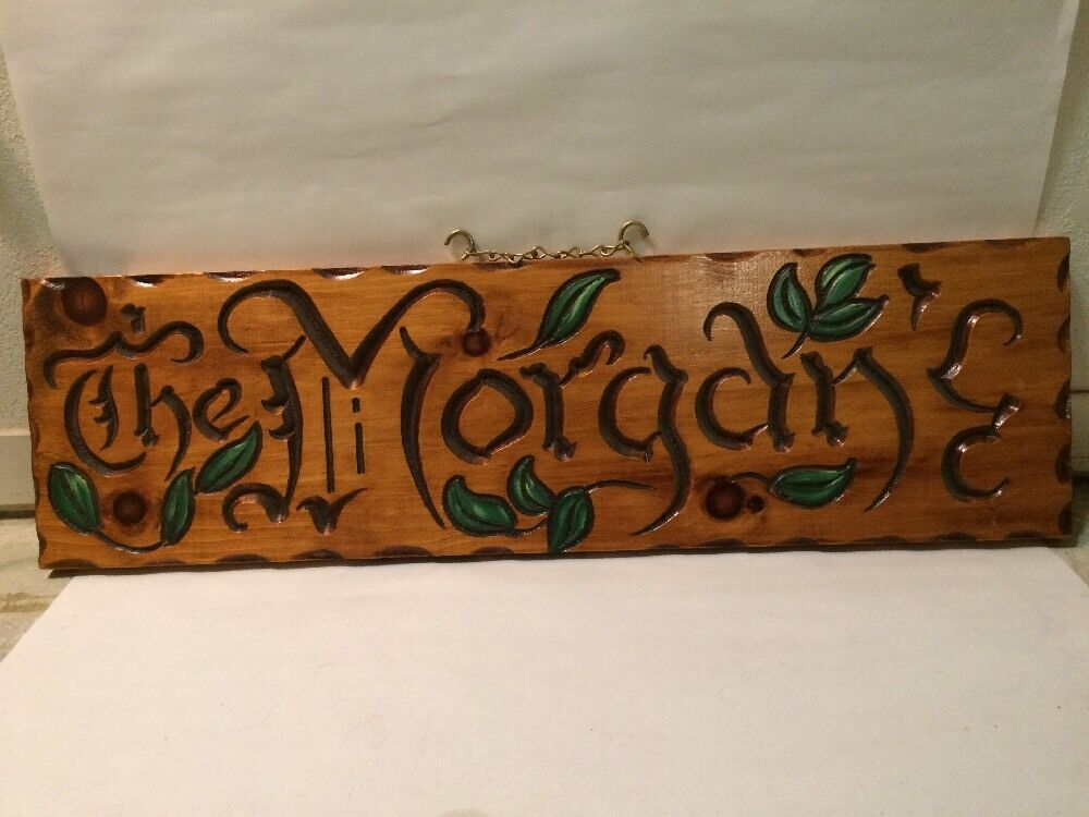 Hand Carved Vintage Wood Sign   The Morgan's  OOAK
