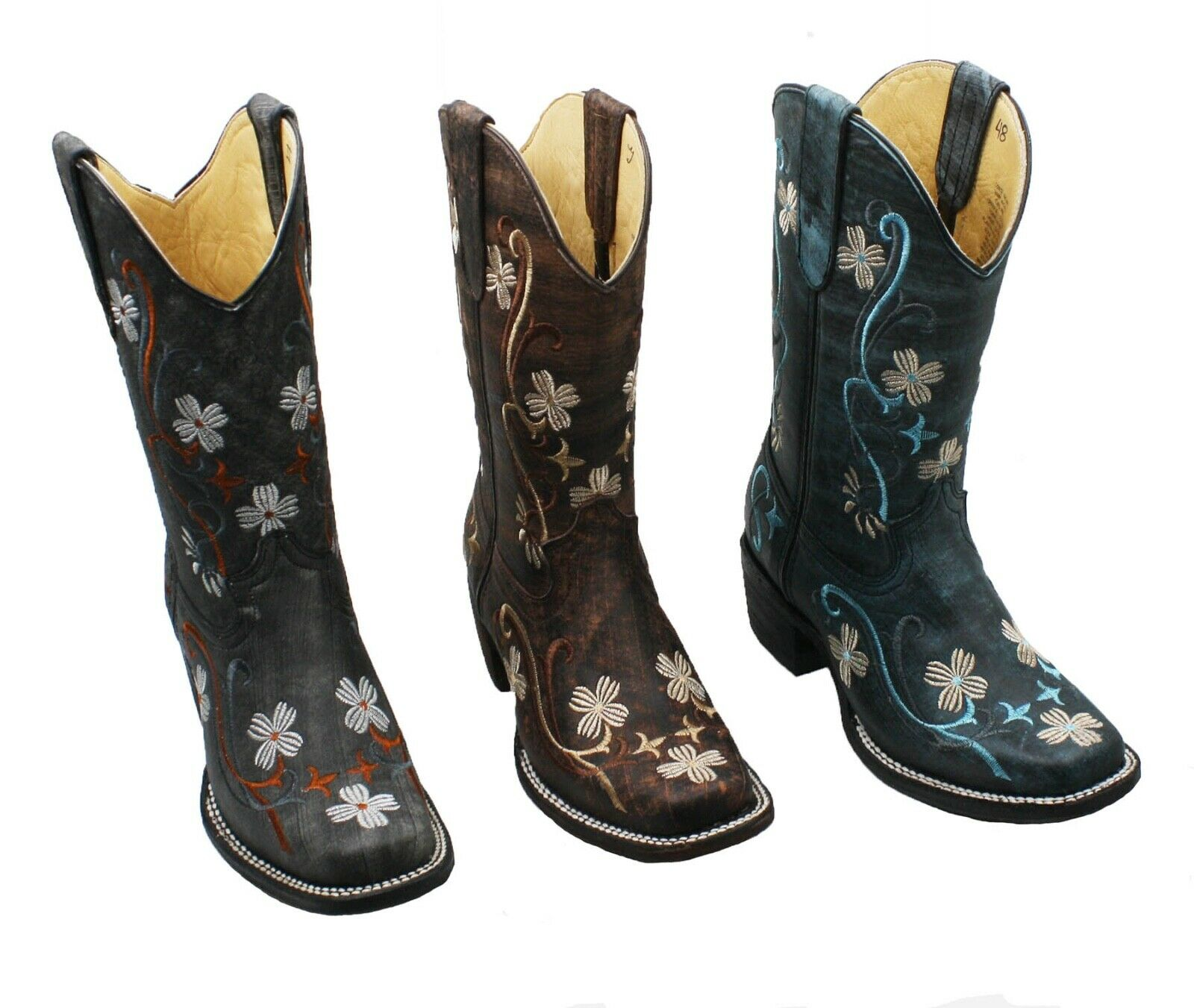Ladies Genuine Cowhide soft Leather Flower Desgin Western Rodeo toe stivali