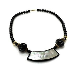 Vintage-Statement-Crackle-Mother-Of-Pearl-Lucite-Plastic-Beaded-Necklace