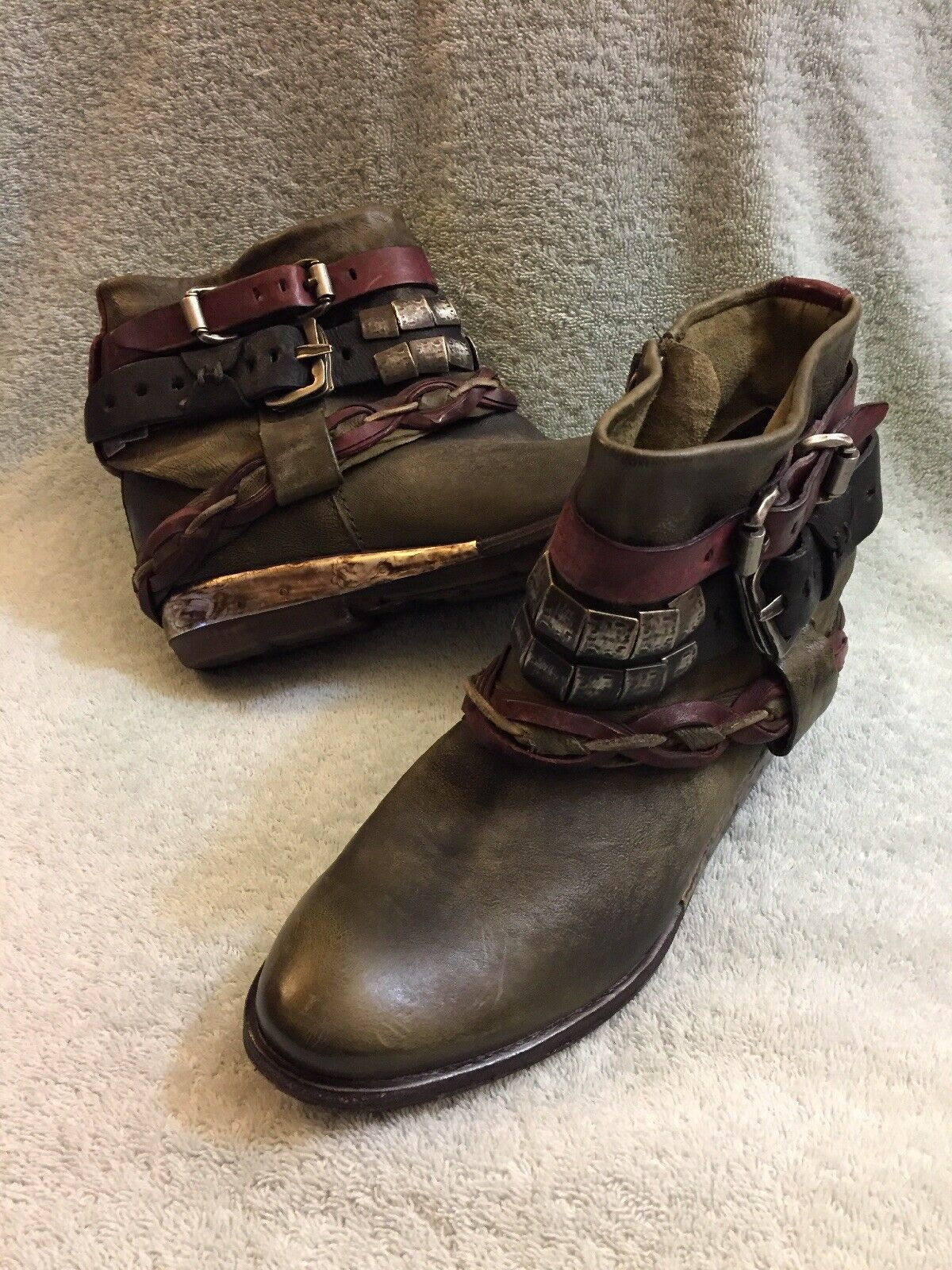 A.S.98 Ankle Boots Olive Green Strip Leather 150205 Women Size 38-6.5 7