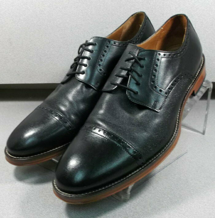 592511 WT50 Mens Shoe Size 9.5 M Black Leather Lace Up Johnston Murphy Walk Test