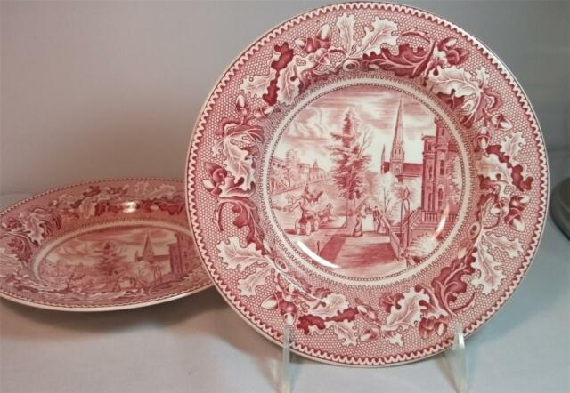 Johnson Brothers HISTORIC AMERICA PINK 2 Rim Soup bowls GREAT CONDITION