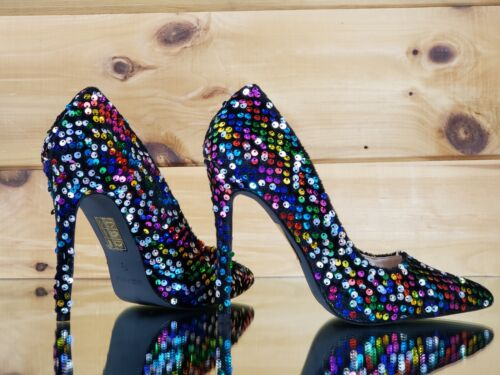 """Ricky 15 Black Multi Color Sequin Pointy Toe Pump Shoe 4.5/"""" High Heels 6-11"""