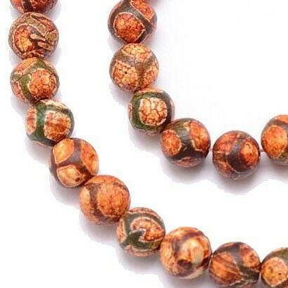 El tíbet dzi achat Buddha perlas 8mm naturaleza Edelstein alrededor de Tibet Best g759