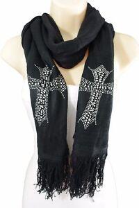 New-Women-Scarf-Black-Fabric-Fashion-Long-Silver-Beads-Cross-Bling-Charm-Wrap