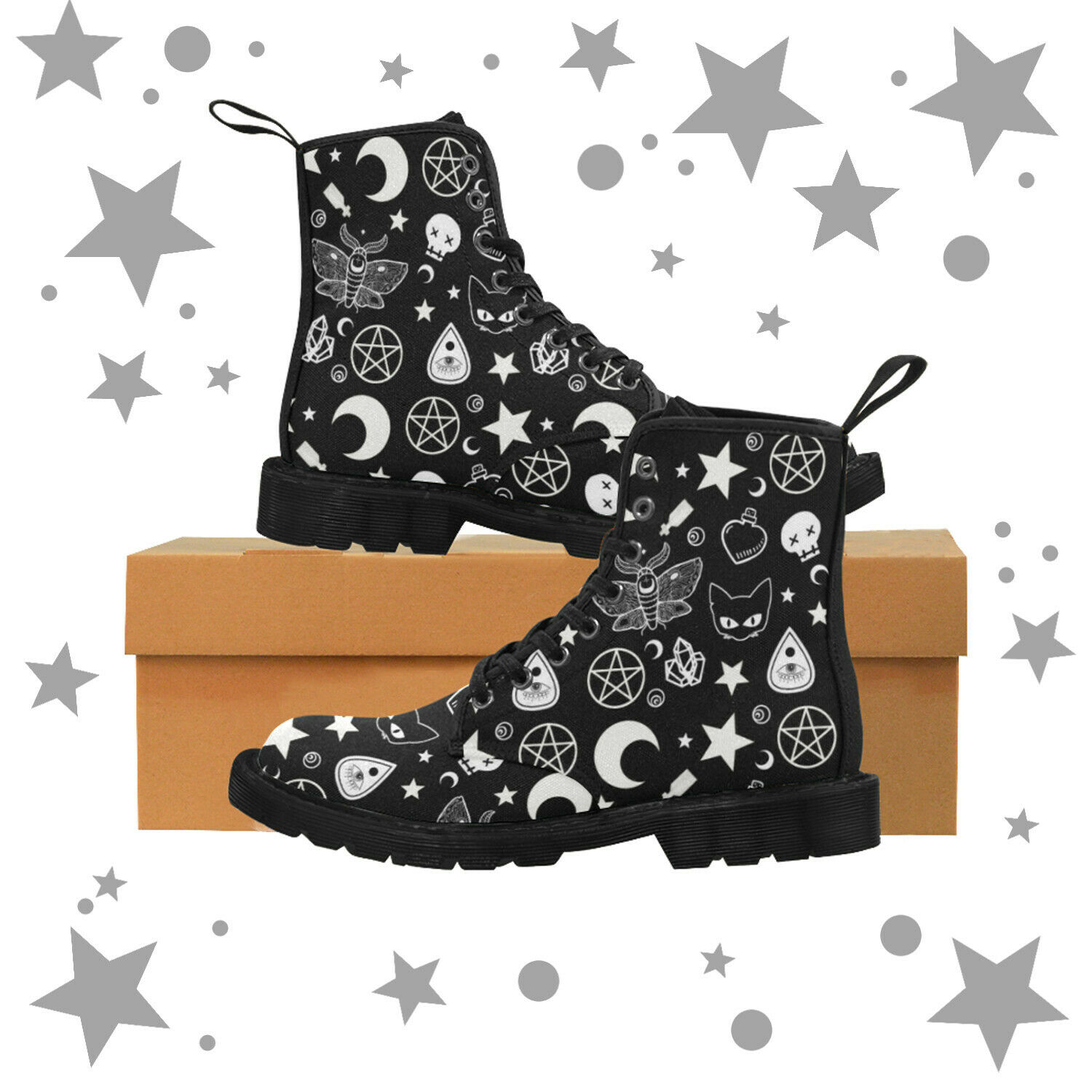 Studded Goth Zip - Combat Ankle Boots - Pentagram - Ouija - Wiccan - Witchcraft