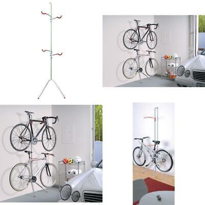 Bike Rack Garage Wall Gravity 2 Bicycle Silver Powder Coated Indoor Holder