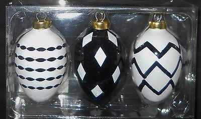 Striped Christmas Ornament Egg Hanging Glass Easter Stripe Holiday New