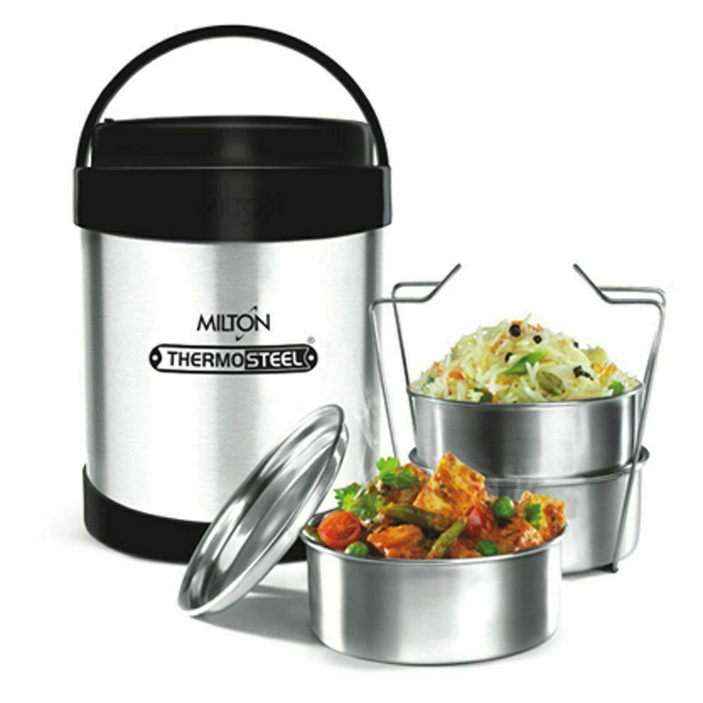 Milton Royal Thermosteel Insulated Hot Tiffin Lunch Box 3 Containers FreeShip GK
