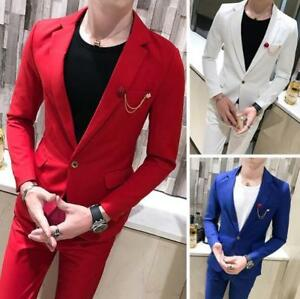 Mens-2pcs-One-Button-Blazer-Suit-Lapel-Collar-Coat-Slim-Fit-Jacket-Casual-Pants
