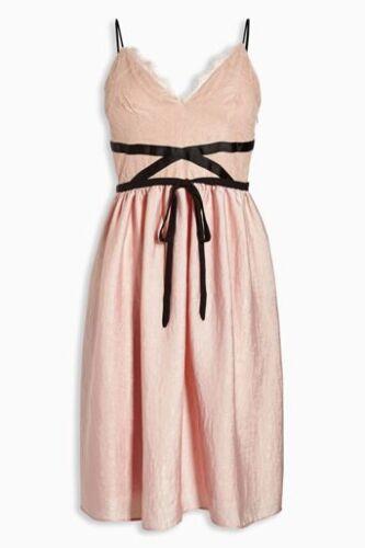 Empire Ceinture Ballet 14 58 Next Robe Noir Satin Dentelle 18 Cravate £ 16 Rose New Bnwt vz0qgg
