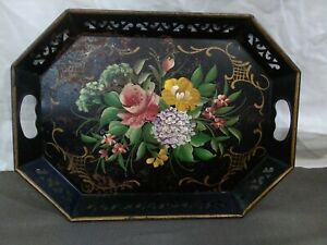 VINTAGE-ANTIQUE-BLACK-TOLE-TRAY-ROSES-HANDLES-METAL-TIN-HAND-PAINTED-FRENCH