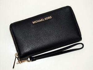 Details zu MICHAEL KORS Damen Geldbörse Portemonnaie Handyfach Leder schwarz 35S9GTVE7L