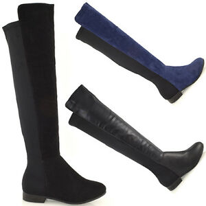 Womens-High-Over-The-Knee-Stretch-Flat-Zip-Elasticated-Leg-Ladies-Low-Heel-Boots