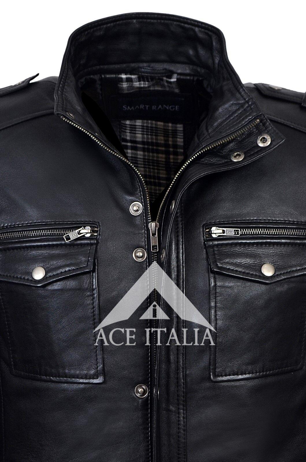 Uomo Nero Designer Reale Pecora Nappa Giacca in pelle pelle pelle morbida pelle di agnello 5540 9e9944