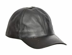 Real BLACK Leather Baseball Cap Sports Casual Velcro Fastening One ... 24222fc22a6
