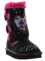 Skechers Twinkle Toes Keepsakes Heart Warmer Toddler Girl's Light Up Boots, Blk