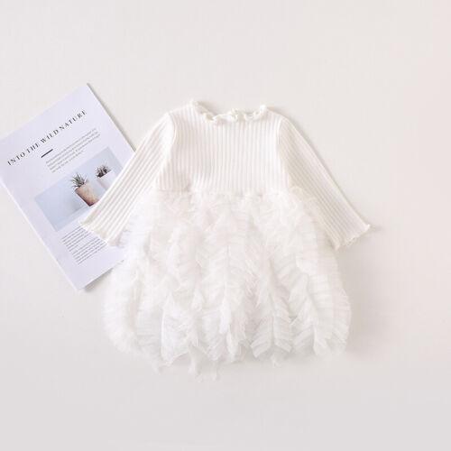 Toddler Baby Girls Princess Sweater Dress Toddler Winter Long Sleeve Party Tutu